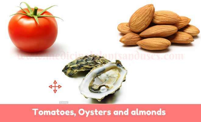 Oysters,Tomatoes, almonds for health