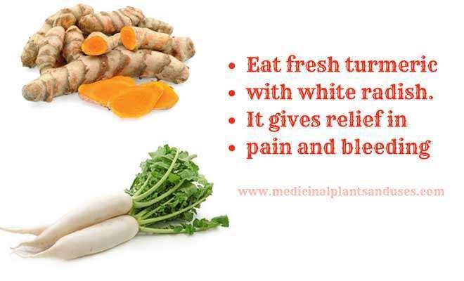 turmeric radish to cure piles