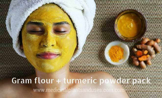 gram flour and turmeric skin pack