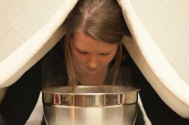 moisture inhalation to cure sinus headache